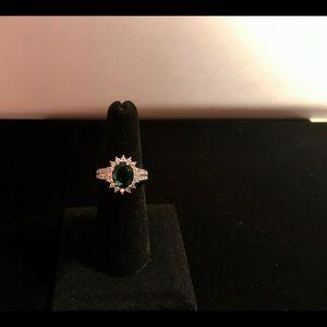 Huitan Jewelry - 925 silver oval cut emerald ring size 6
